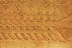 Bas-ανακούφιση τοίχων, ναός Angkor Wat Στοκ Εικόνα
