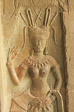 Bas-ανακούφιση τοίχων Devata, ναός Angkor Wat, Καμπότζη Στοκ εικόνες με δικαίωμα ελεύθερης χρήσης