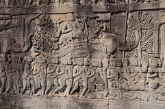 Bas-ανακούφιση του ναού Bayon. Καμπότζη Στοκ εικόνα με δικαίωμα ελεύθερης χρήσης