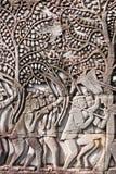 bas bayon khmer reliefowi świątynni wojownicy Zdjęcia Royalty Free