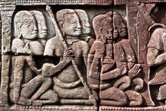 bas bayon khmer reliefowi świątynni wojownicy Obrazy Royalty Free