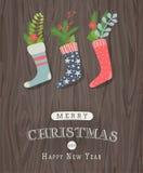 Bas de Noël avec la décoration de vintage Image stock