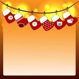 Bas de Noël sur une corde Images libres de droits
