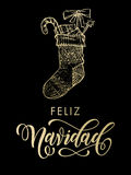 Bas de scintillement d'or de Feliz Navidad Spanish Merry Christmas Images libres de droits