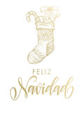 Bas de scintillement d'or de Feliz Navidad Spanish Merry Christmas Image stock