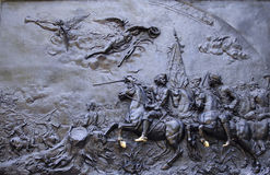 Bas-hulp fragment op een monument aan Peter I Royalty-vrije Stock Afbeeldingen