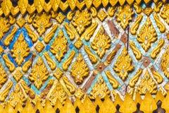 Bas-hulp op de muur van de tempel Wat Sensoukaram in Louangphabang, Laos Close-up Royalty-vrije Stock Foto's