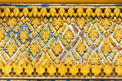Bas-hulp op de muur van de tempel Wat Sensoukaram in Louangphabang, Laos Close-up Royalty-vrije Stock Afbeeldingen