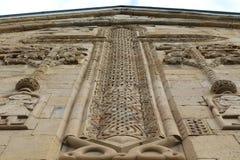 Bas-hulp op voorgevel van Ananuri-kerk in Georgië royalty-vrije stock afbeelding