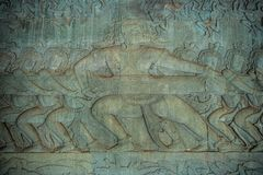 Bas-hulp van Angkor Wat, het Archeologische Park van Angkor royalty-vrije stock foto's