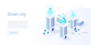 聪明的城市或聪明的修造的等量传染媒介概念 与计算机网络例证的修造的自动化 ?? 库存例证