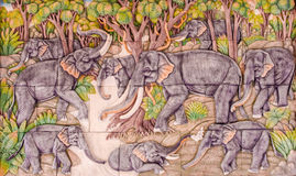 Bas lättnad av elefant nio Royaltyfri Bild