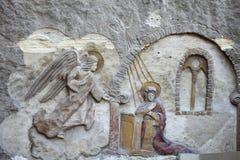 Bas lättnad från Coptic kyrka royaltyfria bilder