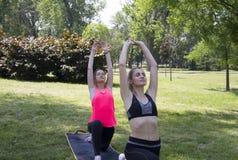 Bas mouvement brusque - Anjaneyasana yoga Novi Sad, parc de Liman serbia photos libres de droits