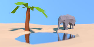 Bas poly éléphant à l'abreuvoir Photo libre de droits