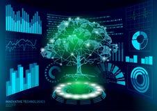 bas poly affichage de HUD UI d'arbre de la plante 3D verte Future ligne polygonale abrégé sur de point de triangle solution de pr illustration de vecteur