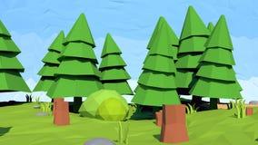 Bas poly arbre de sapin isométrique, rendu 3D Photographie stock