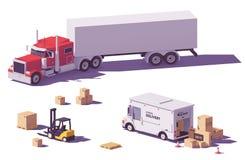 Bas poly camions et chariot élévateur de vecteur Photos libres de droits