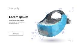 Bas poly casque de réalité virtuelle illustration de vecteur