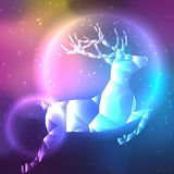 Bas poly cerfs communs polaires en cristal Fond de l'espace avec des étoiles et des planètes illustration stock