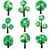 Bas poly clipart (images graphiques) d'arbres image stock