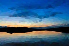 Bas poly coucher du soleil sur le lac Photographie stock