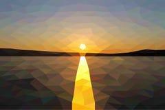 Bas poly coucher du soleil sur le lac d'hiver Images stock