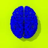 Bas poly dessin de cerveau pixelated par bleu Images libres de droits