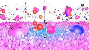 Bas poly fond abstrait avec des couleurs modernes de gradient La surface bleue de la violette 3d avec la grille et 3d objecte V3 Image libre de droits