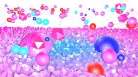 Bas poly fond abstrait avec des couleurs modernes de gradient La surface bleue de la violette 3d avec la grille et 3d objecte V6 Photographie stock libre de droits