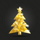 Bas poly fond d'obscurité d'arbre de Noël de conception Photo stock