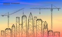 Bas poly lever de soleil en construction de construction de grue Technologie moderne industrielle d'affaires Ciel coloré 3D de co illustration stock