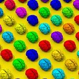 Bas poly modèle coloré de cerveaux Photographie stock