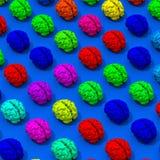 Bas poly modèle de cerveaux sur le fond bleu Image stock