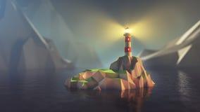 Bas poly phare illustration stock