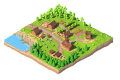 Bas poly village isométrique, 3D rendu, bande dessinée Photos stock
