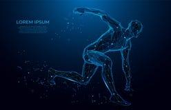 Bas poly wireframe de corps humain Athlète, homme courant des triangles, bas poly style Concept de sport Art polygonal de maille  illustration de vecteur