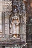 Bas-relevo da mulher de Angkor, Camboja Fotografia de Stock Royalty Free