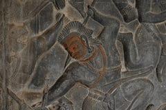 Bas-relevos no templo de Angkor Wat Fotos de Stock