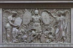 Bas-relief на колонке Александра Стоковое Фото
