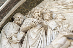 Bas-relief. With Magi, on the front of church of Santa Croce in Florence Stock Image