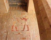 Bas-relief al tempiale mortuario di Hatshepsut. Immagine Stock Libera da Diritti