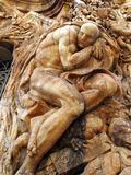 Bas Relief Alabaster Sculptures auf der Fassade des nationalen Keramik-Museums, Valencia Lizenzfreie Stockbilder