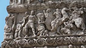 Bas-relief on ancient Arch of Galerius in Thessaloniki, Greece stock video