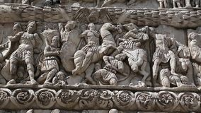 Bas-relief on the ancient Arch of Galerius in Thessaloniki, Greece stock video
