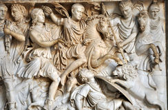 Bas-relief of ancient Roman soldiers Stock Photos