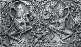 Bas-relief of an ancient temple. Angkor Stock Images