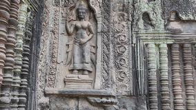 Bas-relief on the ancient wall in Angkor Thom temple complex, Cambodia stock video footage