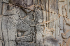 Bas-relief of Angkor, cambodia Royalty Free Stock Photos