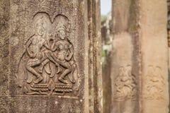 Bas-relief of Angkor, cambodia Royalty Free Stock Photo